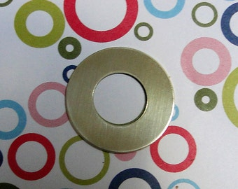 """10 Deburred 18G Brass 1 inch (26mm) Stamping Blanks Washers with 1/2"""" hole"""
