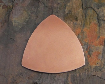 """5 Deburred 24G Copper 1 1/4"""" inch X 1 1/4"""" ROUNDED TRIANGLE Guitar Pick Stamping Blanks"""
