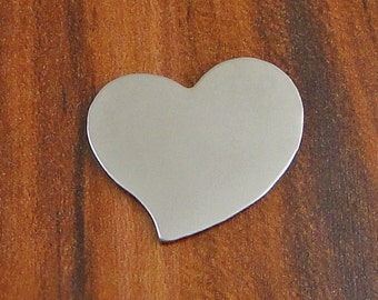 """10 Deburred 20G Nickel Silver 1/2"""" inch X 1/2"""" TILTED HEART Stamping Blanks"""
