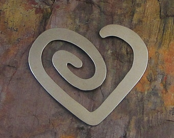 """5 Deburred 24G Nickel Silver 1 1/2"""" inch X 1 3/8"""" HEART SPIRAL Stamping Blanks"""