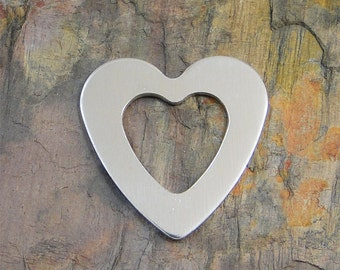 """5 Deburred 1"""" inch X 1 1/8"""" HEART WASHER *Choose Your Metal* Aluminum Brass Bronze Copper Nickel Silver Stamping Blanks 5/8"""" X 5/8"""" Hole"""
