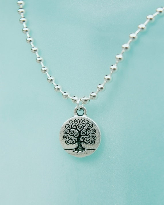 "Women's necklace - 16"" Length & 3/4""  charm - Tree Of Life on ball chain"