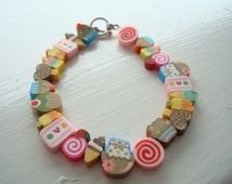 Ice Cream Bracelet Sweets and Candy Wire Silver Plated Polymer Clay Gift