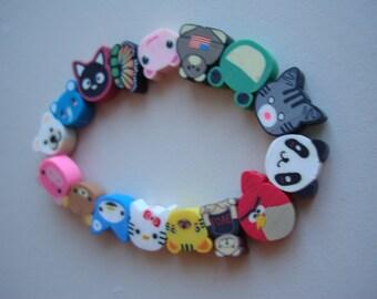 Animal Child Bracelet Polymer Clay Multi Coloured Elastic