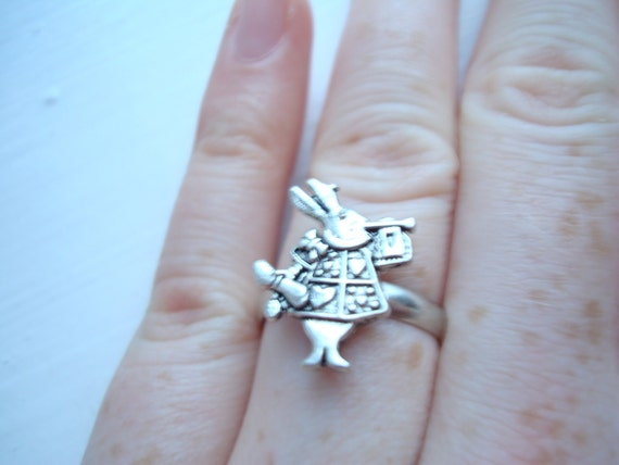 White Rabbit Alice in Wonderland Adjustable Silver Plated Ring