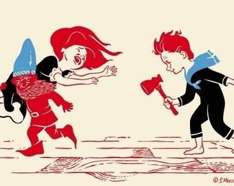 Fairytale Dwarf Print, Fantasy Art, Maiden, (Part 1) - Giclee Print