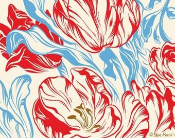 Striped Tulip Flower Print, Botanical Art, Floral, Springtime, 5x7 Giclee Print