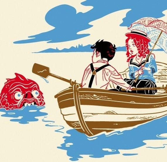 Sea Monster Print, Row Boat, Victorian Fantasy - Giclee Print