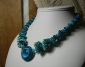 Turquoise Blue Beaded Collar