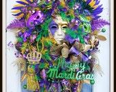 Mardi Gras Wreath Fat Tuesday Wreath Door Wreath Mardi Gras Decorations Mardi Gras Mask & Beads Front Door Wreath Mardi Gras Decor for Door
