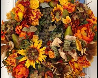 Luxury Wreath, Tuscan Wreath, Fall Wreath, Year Round Wreath, Front Door Wreath, Silk Floral Wreath, Wreath for Door, Large Door Decoration