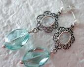 Aqua Oval Cut Earrings