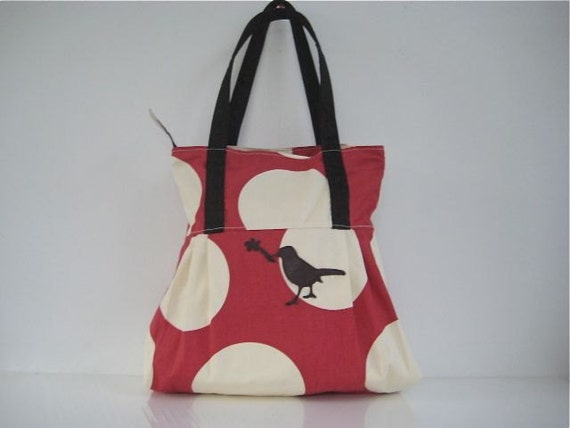 SALE 15% OFF WAS 52 Happy Dots Leather Bird Applique Tote Handbag Zippered Red