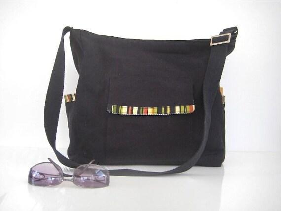 CarryOn Zipper Messenger Travel Bag Diaper Bag Zippered Large Black Canvas