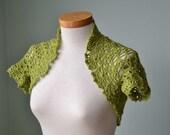 Pistachio green lace crochet shrug bolero