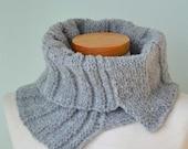 Grey knitted cowl asymmetrical striped pattern  G638
