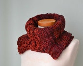 Burgundy red knitted cowl asymmetrical striped pattern  G640