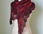 Red knitted shawl with crochet lace trim red burgundy oxblood E428