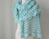 Mint aqua lace crochet stole cotton  G698