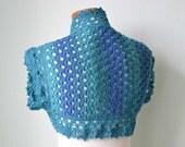Crochet shrug, bolero, vest,  blue lace wool, Size L / XL, G749