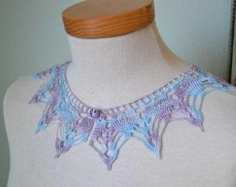 Lace crochet collar, lilac blue tencel / silk F583