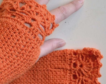 Orange crochet gloves with lace trim F622