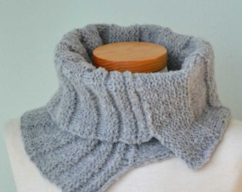 Grey knitted cowl asymmetrical striped pattern  G638