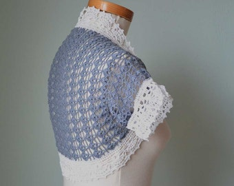 Crochet shrug, bolero,  blue, white, cotton, lace, Size S/M, G657
