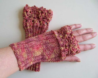 Elegant red yellow knitted fingerless gloves with crochet lace border C312