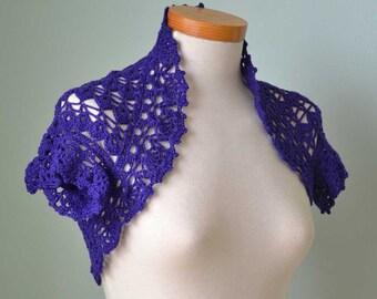 Crochet shrug, bolero, Purple, Cotton, Size S/M,  C300