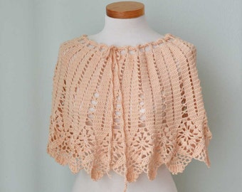 Peach lace crochet poncho skirt top  G719