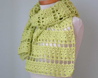 Crochet shawl, scarf, lime green, lace, cotton,  G722