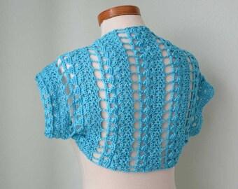 Crochet shrug, bolero, Aqua blue, lace, Size M/L,  G727