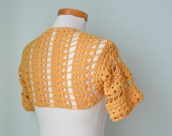 Crochet shrug bolero, Golden yellow, lace, Size S/M,  G731