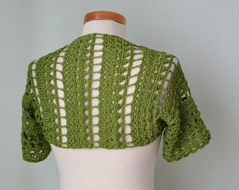 Crochet shrug bolero, Green, lace, Size S/M,  G732