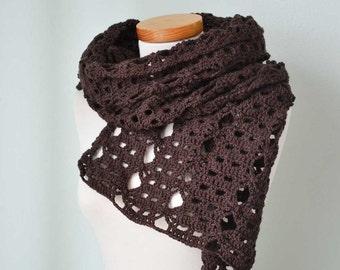 Crochet shawl, stole, merino wool, Chocolate brown lace  G734