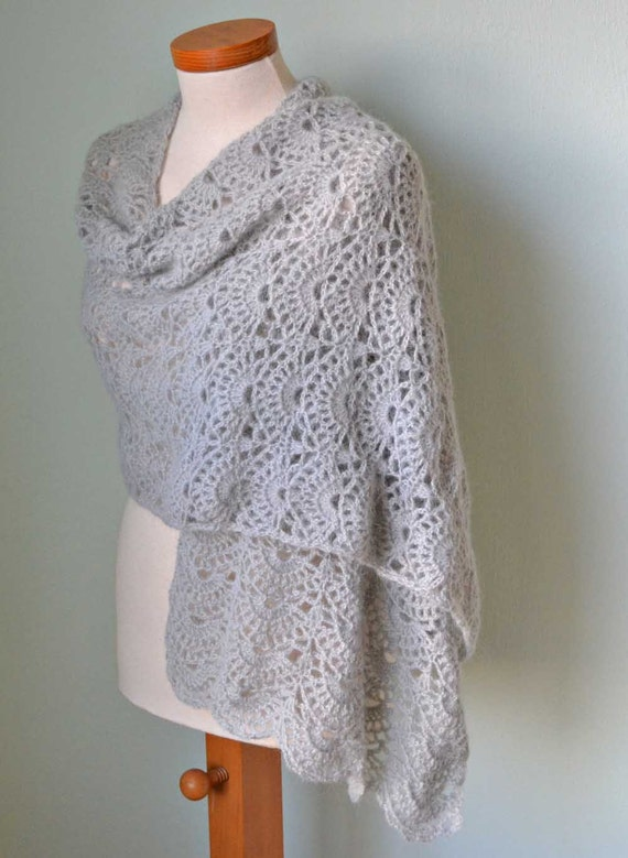 Silver grey crochet lace shawl stole