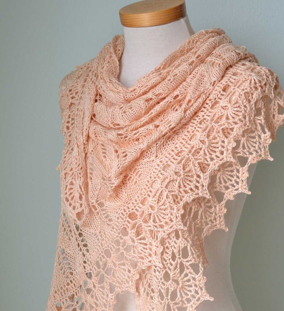Crochet Lace Wedding Garter Pattern: Peach Lace Knitted Cotton Shawl With Lace Crochet Border
