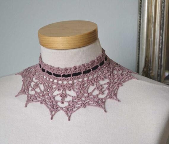 Lace crochet choker, antique pink cotton, black suede ribbon F571