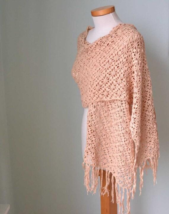 Lace crochet shawl scarf wrap peach cotton  F625