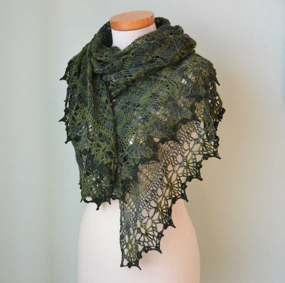 Green lace knitted shawl with crochet trim  G672