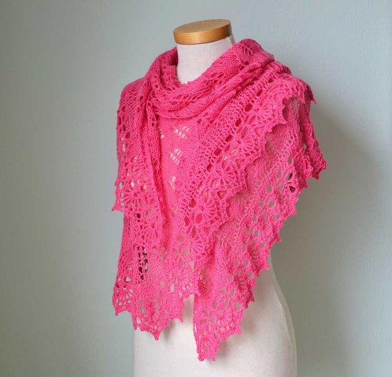 Hot pink lace knitted merino shawl with crochet trim F532