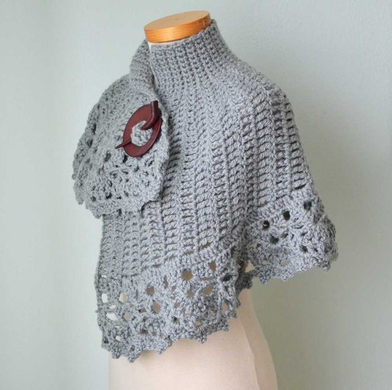 Grey asymmetrical crochet capelet  G687