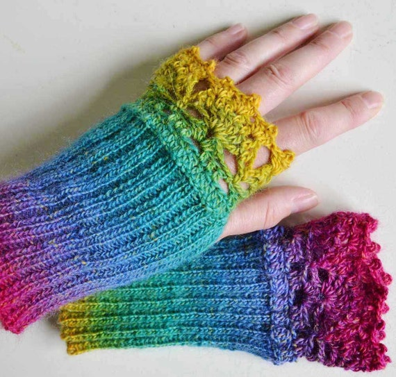 Rainbow knitted gloves with lace crochet trim