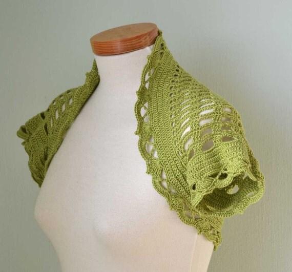 Pistachio green lace crochet shrug bolero E504
