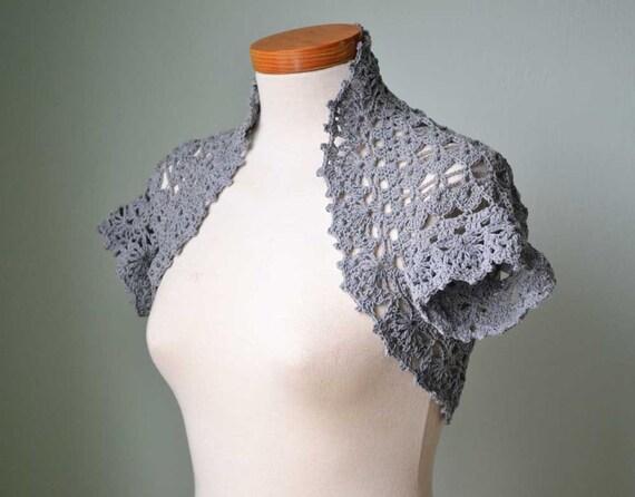 Crochet shrug bolero grey cotton E486