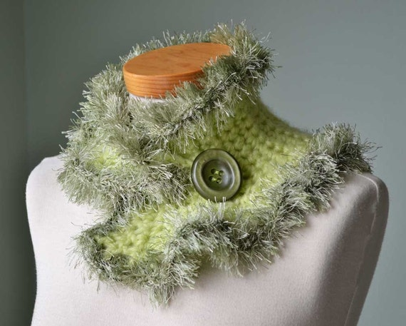 Pistachio green crochet cowl with fun fuzzy trim D367