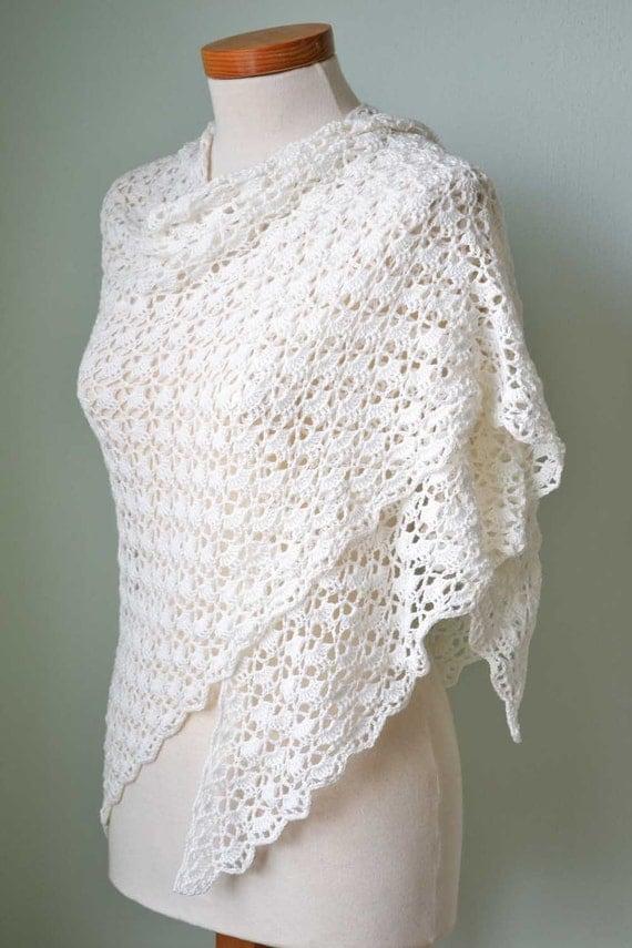 Free Crochet Shawl Patterns Australia : White lace crochet shawl cotton