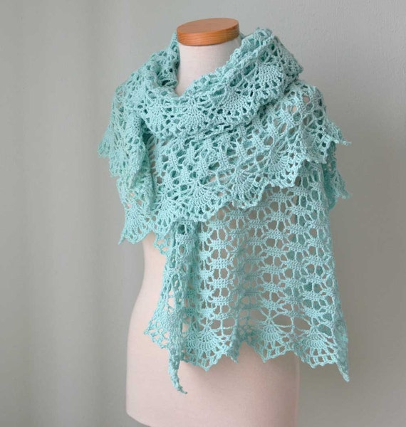 Mint aqua lace crochet stole cotton  G698