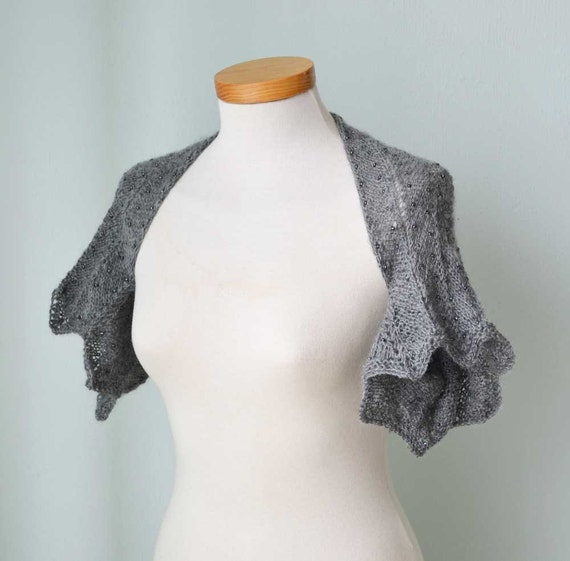 Knitted shrug with beads, Grey, Gray, Size S/L,  G706
